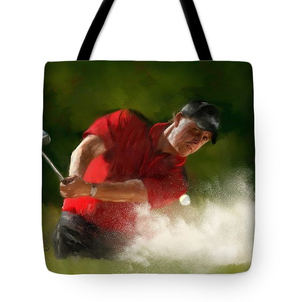 Phil Mickelson - Lefty In Action Tote Bag by Colleen Taylor