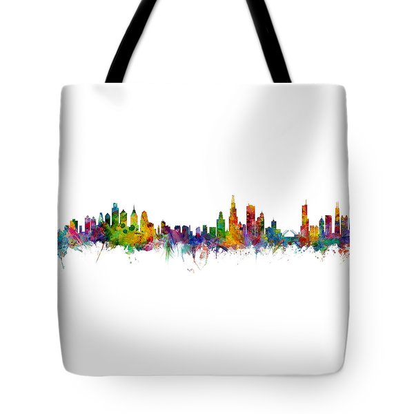Philadelphia And Chicago Skylines Mashup Tote Bag