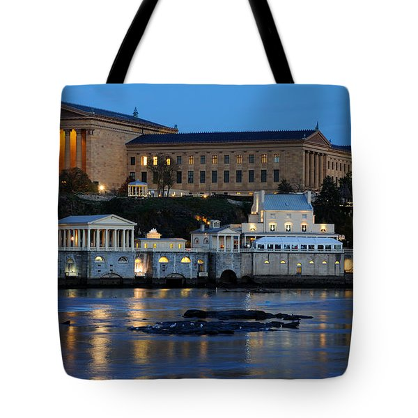 Philadelphia Art Museum And Fairmount Water Works Tote Bag by Gary Whitton