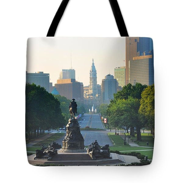 Tote Bag featuring the photograph Philadelphia Benjamin Franklin Parkway by Bill Cannon