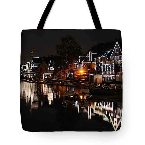 Philadelphia Boathouse Row At Night Tote Bag