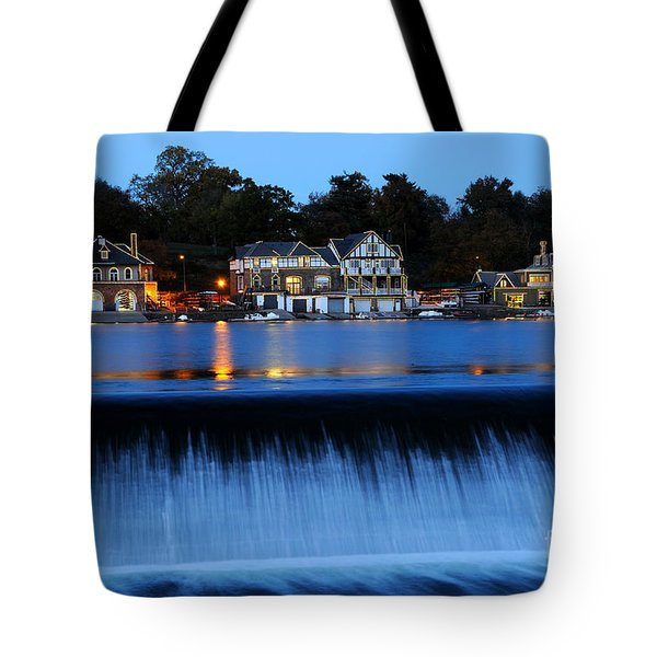 Philadelphia Boathouse Row At Twilight Tote Bag
