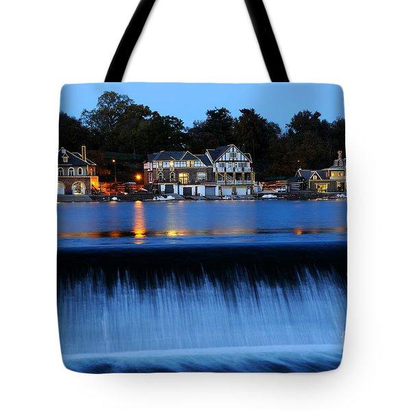 Philadelphia Boathouse Row At Twilight Tote Bag