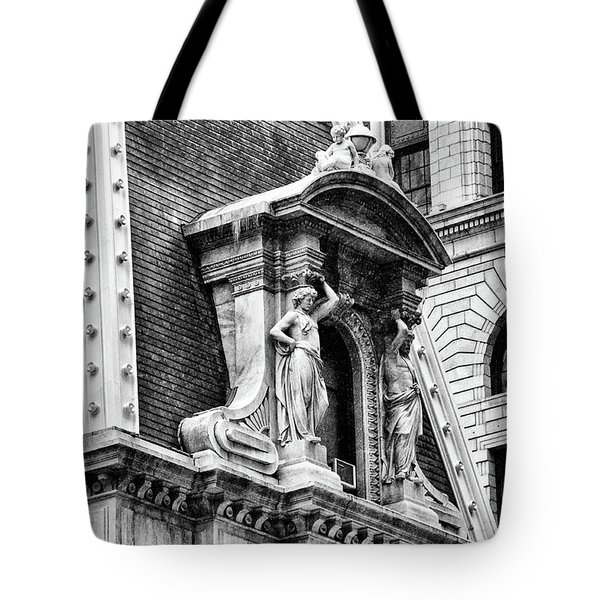 Tote Bag featuring the photograph Philadelphia City Hall Window In Black And White by Bill Cannon