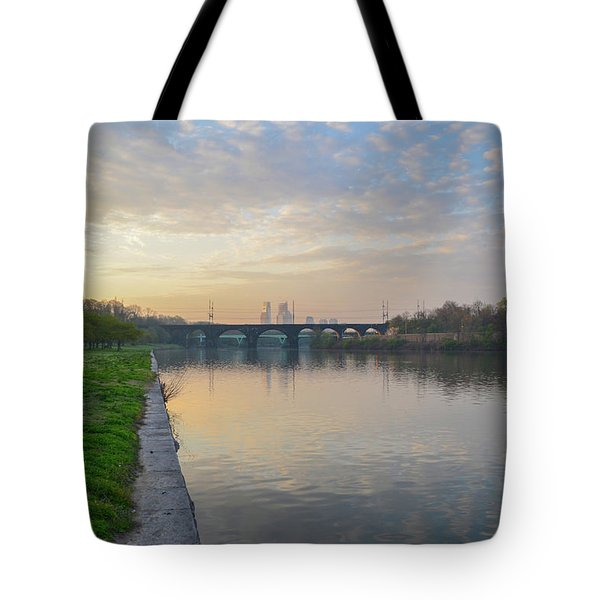 Tote Bag featuring the photograph Philadelphia Cityscape From The Schuylkill In The Morning by Bill Cannon