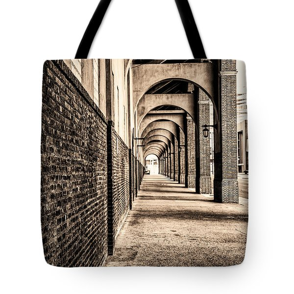 Tote Bag featuring the photograph Philadelphia - Franklin Field Archway In Sepia by Bill Cannon
