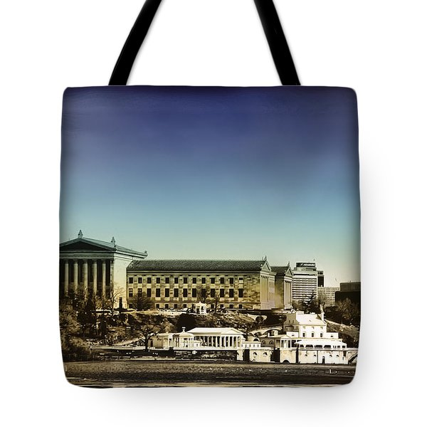 Philadelphia Museum Of Art And The Fairmount Waterworks From West River Drive Tote Bag by Bill Cannon