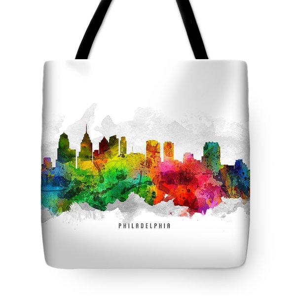 Philadelphia Pennsylvania Cityscape 12 Tote Bag by Aged Pixel