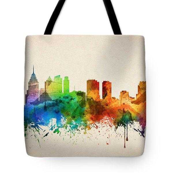 Philadelphia Pennsylvania Skyline 05 Tote Bag by Aged Pixel