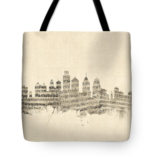 Philadelphia Pennsylvania Skyline Sheet Music Cityscape Tote Bag