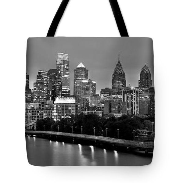 Tote Bag featuring the photograph Philadelphia Philly Skyline At Dusk From Near South Bw Black And White Panorama by Jon Holiday