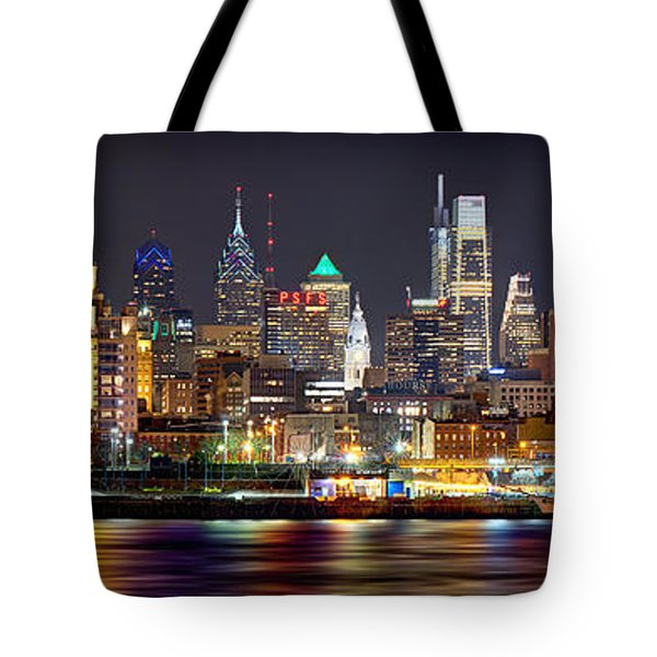 Philadelphia Philly Skyline At Night From East Color Tote Bag
