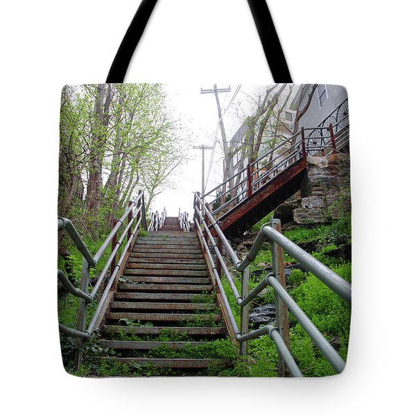 Tote Bag featuring the photograph Philadelphia - Roxborough Avenue Steps by Bill Cannon