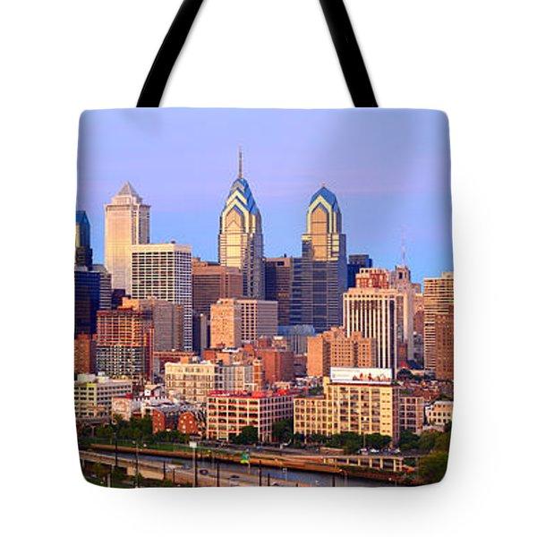 Philadelphia Skyline At Dusk Sunset Pano Tote Bag by Jon Holiday