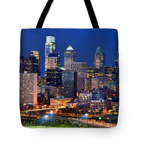 Philadelphia Skyline At Night Tote Bag by Jon Holiday