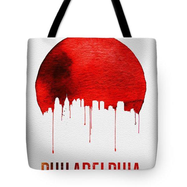 Philadelphia Skyline Redskyline Red Tote Bag by Naxart Studio