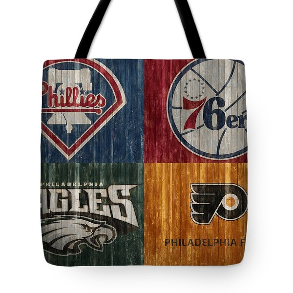 Tote Bag featuring the mixed media Philadelphia Sports Teams by Dan Sproul