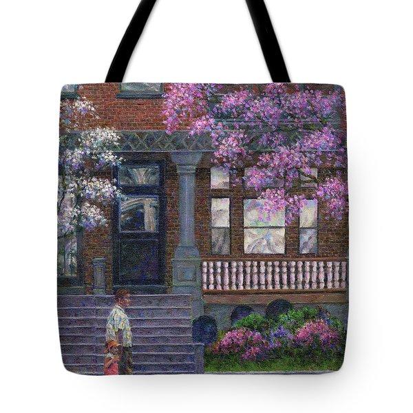 Philadelphia Street In Spring Tote Bag