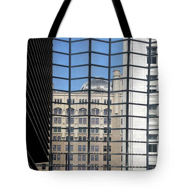 Tote Bag featuring the photograph Philadelphia Through A Window by Emanuel Tanjala