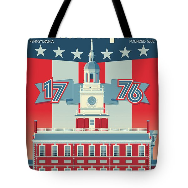 Philadelphia Poster - Independence Hall Tote Bag