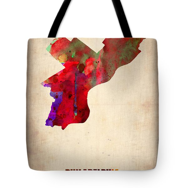 Philadelphia Watercolor Map Tote Bag