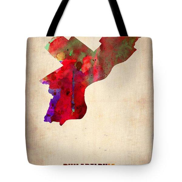Philadelphia Watercolor Map Tote Bag by Naxart Studio