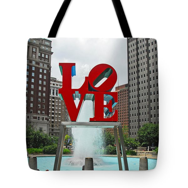 Philadelphia's Love Park Tote Bag by Cindy Manero