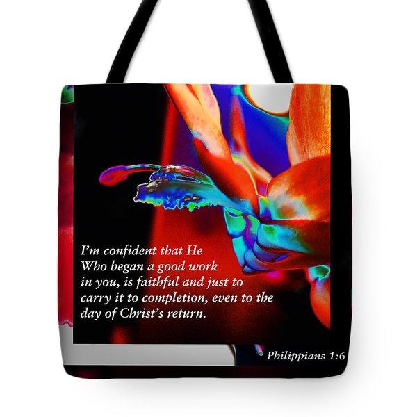 Philippians 1 Vs 6 Tote Bag