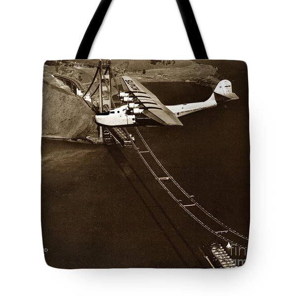 Philippine Clipper A Pan Am Clipper Over The Golden Gate Bridge  1935 Tote Bag