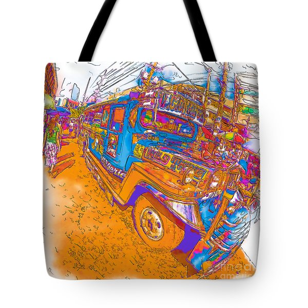 Philippine Girl Walking By A Jeepney Tote Bag