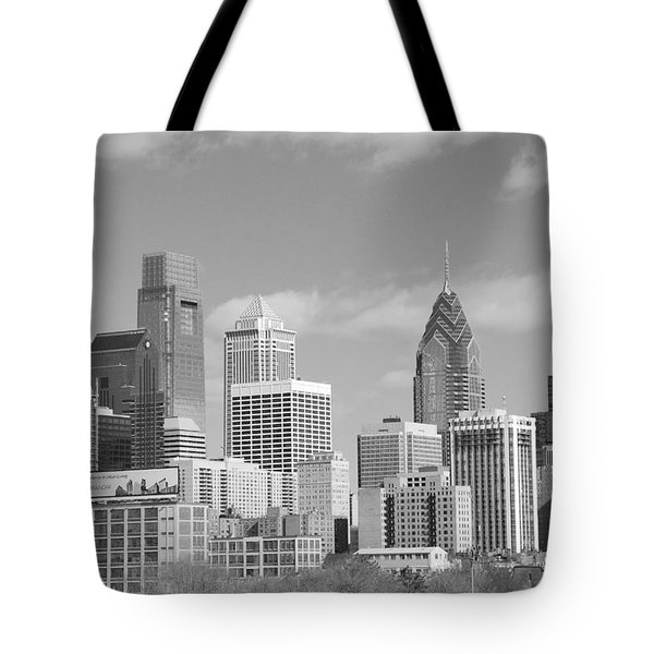 Philly Skyscrapers Black And White Tote Bag