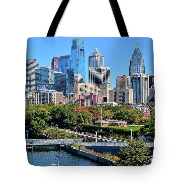 Tote Bag featuring the photograph Philly With Walking Trail by Frozen in Time Fine Art Photography