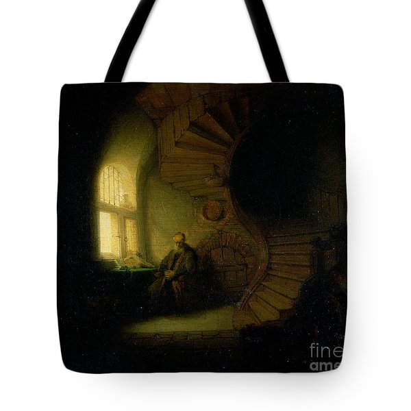 Philosopher In Meditation Tote Bag by Rembrandt
