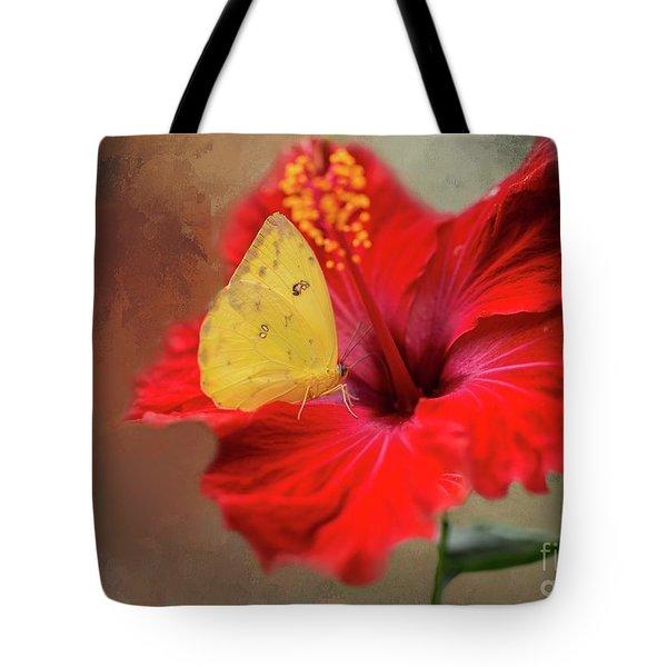 Phoebis Philea On A Hibiscus Tote Bag