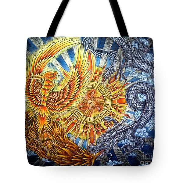 Phoenix And Dragon Tote Bag