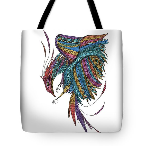 Tote Bag featuring the drawing Phoenix Landing by Barbara McConoughey