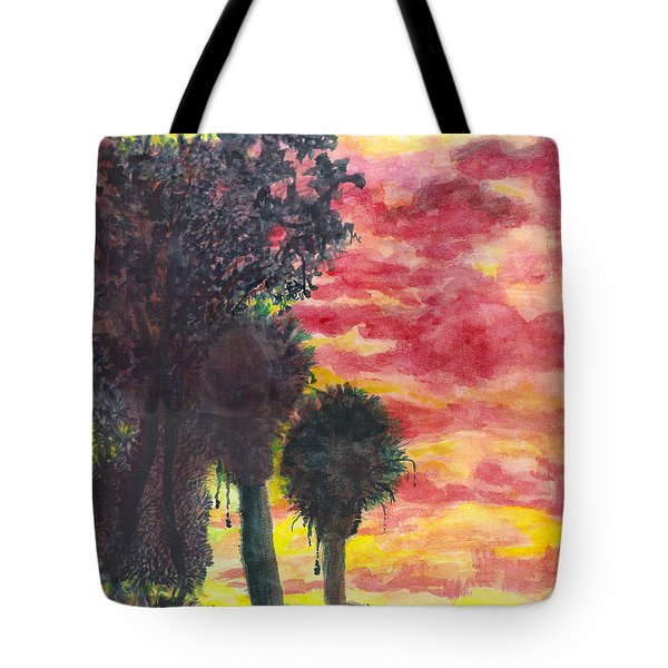 Tote Bag featuring the painting Phoenix Sunset by Eric Samuelson