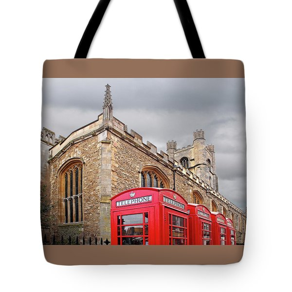 Tote Bag featuring the photograph Phone Home - Gt St Marys Church Cambridge by Gill Billington