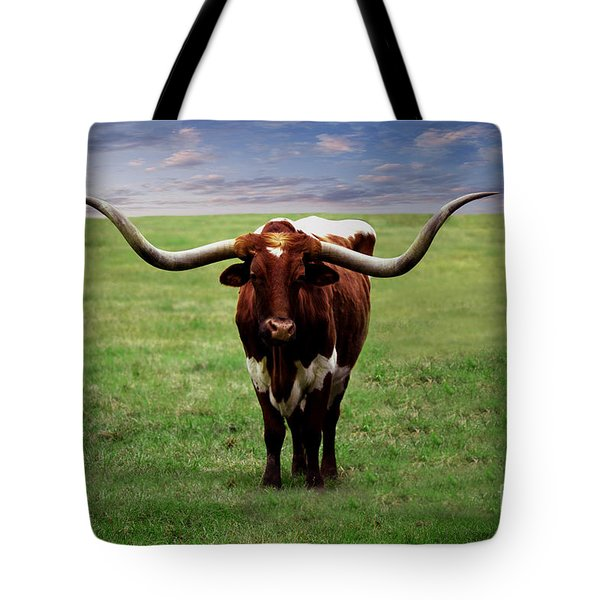 Tote Bag featuring the painting Photo Texas Longhorn A010816 by Mas Art Studio