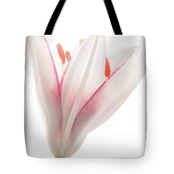 Tote Bag featuring the photograph Photograph Of A Pale Lily Opening II by David Perry Lawrence
