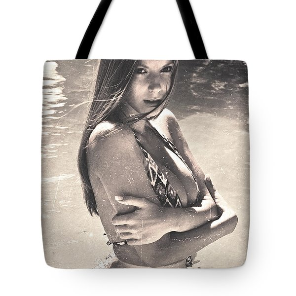 Photograph Vintage Summer Look With Woman In Bikini #8624m Tote Bag