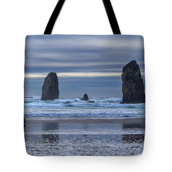 Photographer At Cannon Beach Tote Bag by David Gn