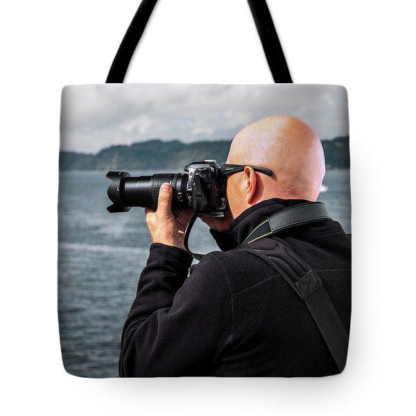 Photographer At Work Tote Bag