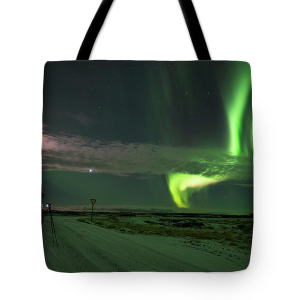 Tote Bag featuring the photograph Photographer Under The Northern Light by Dubi Roman