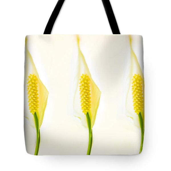 3 Tropical Ladies Called White Anthuriums Tote Bag