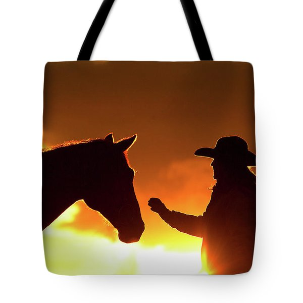 Cowgirl Sunset Sihouette Tote Bag