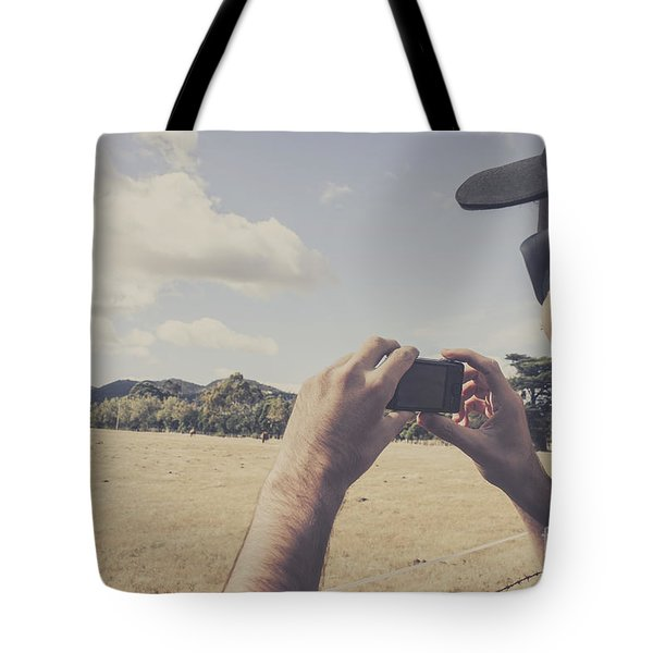 Photographer Taking Photos Of Outback Landscapes Tote Bag