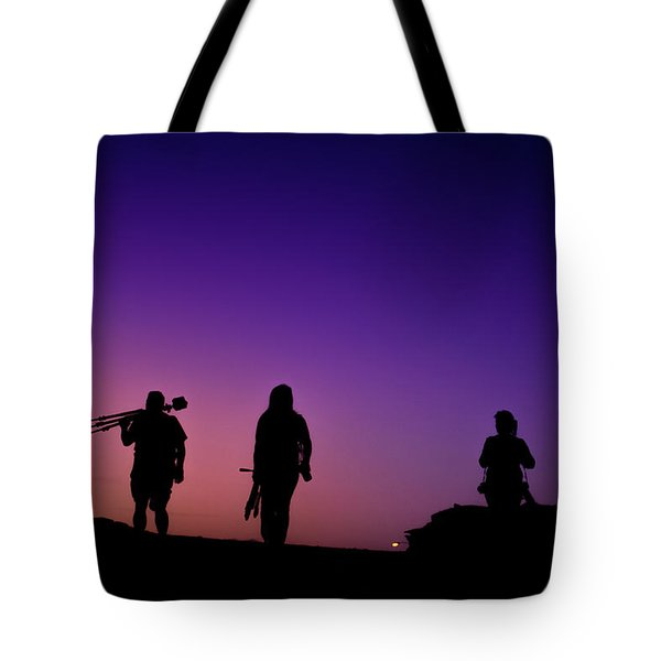 Photographers At Sunset Tote Bag
