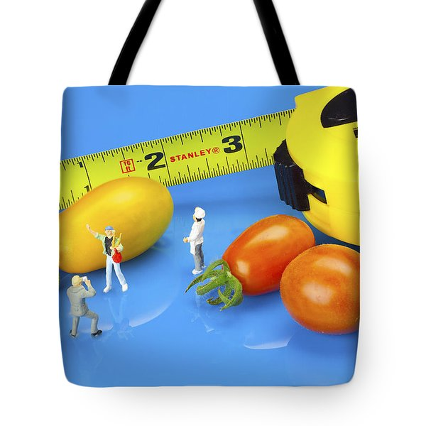 Tote Bag featuring the photograph Photography Of Tomatoes Little People On Food by Paul Ge