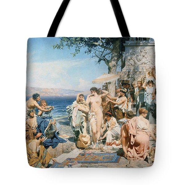 Phryne At The Festival Of Poseidon In Eleusin Tote Bag by Henryk Siemieradzki